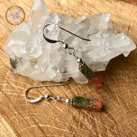 Unakite Rectangle Silver Earrings